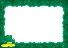 Border  for St. Patricks Day. Vector ornate  frame with leprechauns hat, gold coins and clover leaves Royalty Free Stock Image