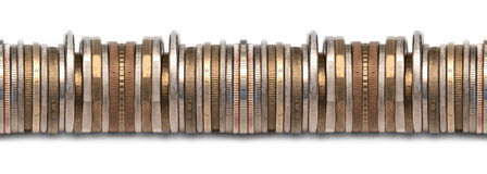 Border of stacked coins. Tilable image of various coins edges on white background that allows to to create seemless borders and textures Stock Photography
