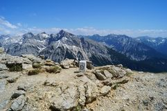 Border stone at the elevation of over 2300 m above sea level between Germany and Austria. Stock Photography