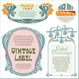 Border style labels on different topics with flower Royalty Free Stock Photos
