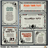 Border style labels on different topics on a theme of Halloween Royalty Free Stock Image