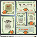 Border style labels on different topics on a theme of Halloween Royalty Free Stock Photos