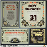 Border style labels on different topics on a theme of Halloween Royalty Free Stock Photo