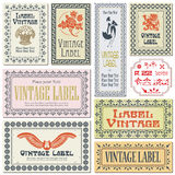 Border style labels on different versions on the basis of brushe. S for decoration and design Royalty Free Stock Photo