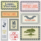 Border style labels on different versions on the basis of brushe. S for decoration and design stock illustration
