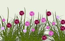 Border of summer flowers in a meadow, digital art design stock illustration