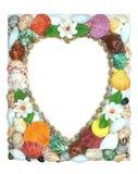 Border summer shells frame composition Stock Photo