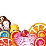Border of sweets, cakes, fruit, berries stock photo