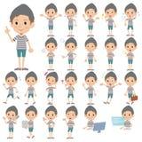 Border T-shirt shorts knit cap man. Set of various poses of Border T-shirt shorts knit cap man Royalty Free Stock Image