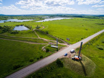 Border of Tatar and Bashkir state. Aerial view. Royalty Free Stock Photos
