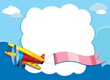Border template with airplane flying with pink flag Royalty Free Stock Photo