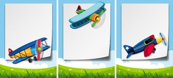 Border template with airplanes flying over the field. Illustration Royalty Free Stock Images