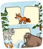 Border template with animals in winter. Illustration Stock Image