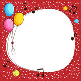 Border template with balloons and music notes Stock Photos