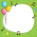 Border template with balloons and music notes. Illustration Stock Image