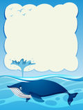 Border template with blue whale in the ocean Stock Photography