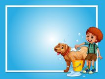 Border template with boy washing dog. Illustration stock illustration