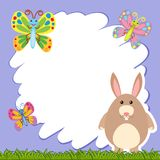 Border template with brown rabbit Royalty Free Stock Photography