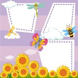 Border template with bugs in sunflower garden. Illustration Royalty Free Stock Image