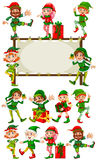 Border template with christmas elves. Illustration royalty free illustration