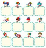 Border template with clowns in different actions royalty free illustration