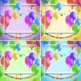 Border template with colorful balloons on four different backgrounds. Illustration vector illustration