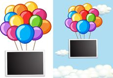 Border template with colorful balloons in sky Stock Photo