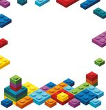 Border template with colorful toy blocks Stock Images