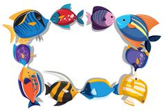 Border template with cute fish. Illustration Royalty Free Stock Photo