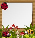 Border template with cute ladybugs in garden. Illustration Stock Photography