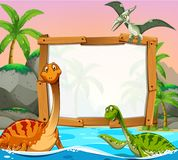 Border template with dinosaurs in the ocean. Illustration Royalty Free Stock Photos
