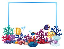 Border template with fish and coral reef. Illustration Royalty Free Stock Photos