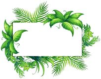 Border template with green leaves royalty free illustration