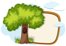 Border template with green tree. Illustration Royalty Free Stock Photography