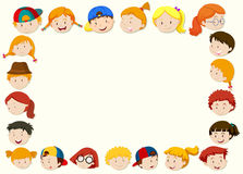 Border template with happy children face Royalty Free Stock Photography