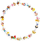 Border template with happy kids in circle. Illustration Royalty Free Stock Image