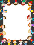 Border template with happy kids. Illustration Stock Photography
