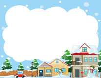 Border template with houses in winter Stock Image