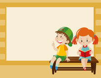 Border template with kids on the bench Stock Photos
