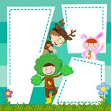 Border template with kids in costume. Illustration Stock Photo