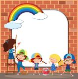 Border template with kids drawing on brickwall. Illustration Stock Photos