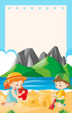 Border template with kids playing on the beach Stock Images