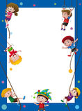 Border template with kids on the rope Royalty Free Stock Photos