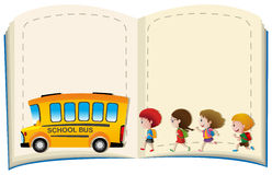 Border template with kids and schoolbus. Illustration Stock Photography