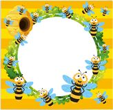 Border template with many bees flying. Illustration Stock Image