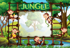 Border template with monkeys in jungle. Illustration Royalty Free Stock Image