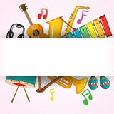 Border template with musical instrument vector illustration