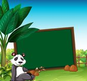 Border template with panda in the field. Illustration Royalty Free Stock Photography