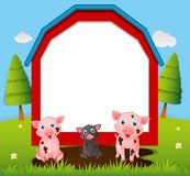 Border template with pigs in mud. Illustration Royalty Free Stock Photo