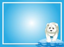 Border template with polar bear on ice. Illustration royalty free illustration